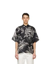 Givenchy Black Silk Floral Schematics Short Sleeve Shirt