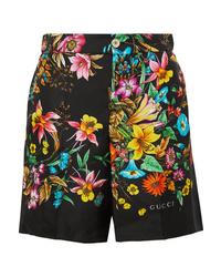 Gucci Floral Print Silk Twill Shorts