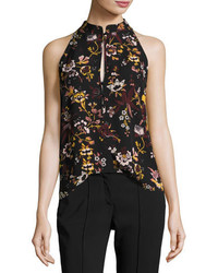 A.L.C. Keith Sleeveless Floral Print Silk Top