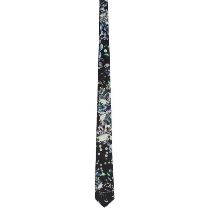 Givenchy Black Silk Floral Tie