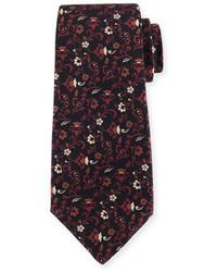 Kiton Floral Print Silk Twill Tie