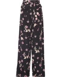 Floral print silk crepe de chine wide leg pants black medium 4393650