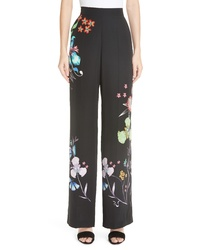 Etro Largo Floral Print Silk Pants