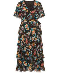 Etro Ruffled Floral Print Silk Chiffon Wrap Effect Dress