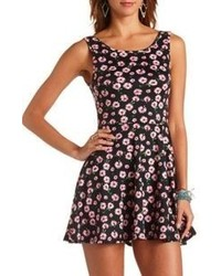 Charlotte Russe Daisy Floral Print Bow Back Skater Dress