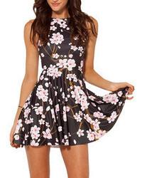 Yumi Long Sleeve Skater Dress In Dark Floral Print | Where to buy ...