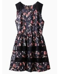 Choies Floral Print Mesh Panel Skater Dress In Black