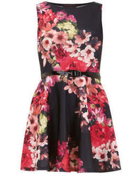 Dorothy perkins petals black floral printed sleevless skater dress medium 58715