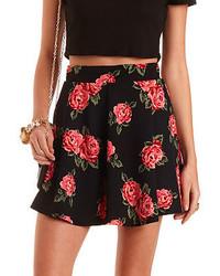 Charlotte Russe Floral Print Skater Skirt