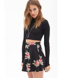 Forever 21 Clustered Floral Print Skater Skirt