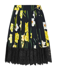 Dolce & Gabbana Med Pleated Floral Print Crepe Mini Skirt