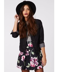 Missguided Seara Floral Print Front Pleat A Line Mini Skirt Black