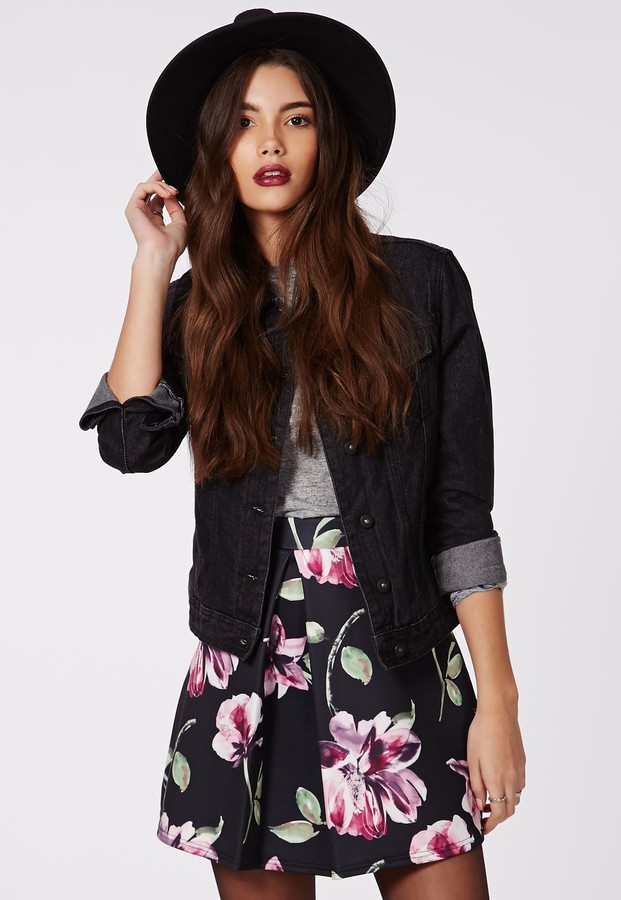 Missguided Seara Floral Print Front Pleat A Line Mini Skirt Black ...