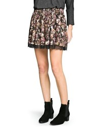 Mango Outlet Lace Appliqu Floral Skirt