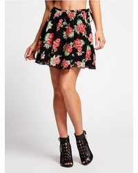 GUESS Vintage Rose Print Skater Skirt