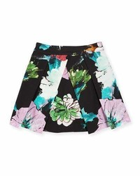 Milly Minis Paper Floral Pleated Skirt Black Size 8 14