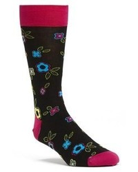 Bugatchi Floral Mercerized Cotton Blend Socks Multi One Size