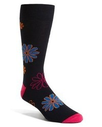 Lorenzo Uomo Floral Socks Blue One Size