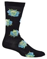 Ozone Design Inc Ozone Skull Flowers Sock Black