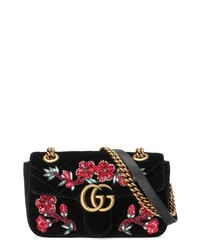 Gucci Mini Gg Marmont Matelasse Velvet Shoulder Bag