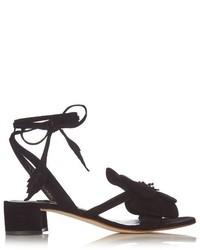 Black Floral Suede Heeled Sandals