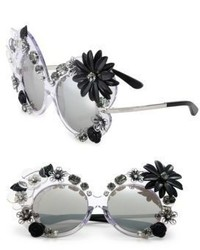 Dolce & Gabbana 60mm Floral Embellished Irregular Mirrored Sunglasses