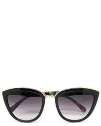 Cateye Sunglasses Black Floral