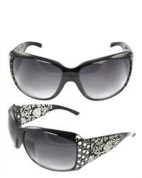 MLC Eyewear Shield Fashion Sunglasses Black Frame In Floral Pattern Design Purple Black Lenses For