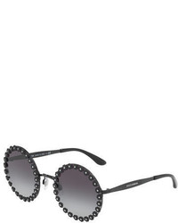 Dolce & Gabbana Round Floral Metal Sunglasses