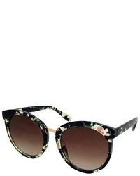 Round Sunglasses Black Floral