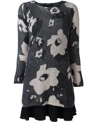 Twin-Set Floral Pattern Sweater Dress