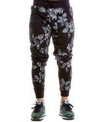 Black Floral Sweatpants
