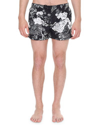 Black Floral Swim Shorts