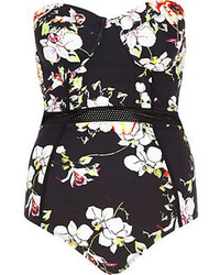 River Island Black Floral Mesh Insert Swimsuit