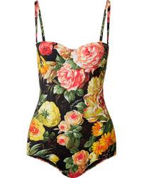 Dolce & Gabbana Cutout Floral Print Swimsuit
