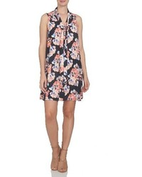 CeCe Floral Tie Neck Swing Dress