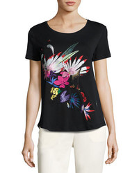 Etro Floral Embroidered Scoop Neck Tee Black