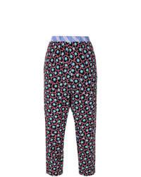 Black Floral Tapered Pants