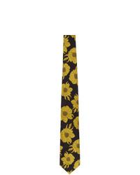 Dries Van Noten Black And Yellow Silk Graphic Tie