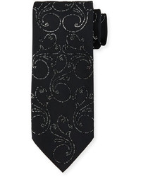 Stefano Ricci Crystal Floral Print Silk Tie Black