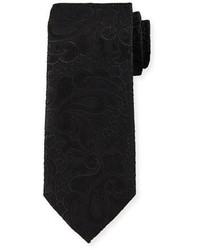 Stefano Ricci Jacquard Floral Print Silk Tie Black
