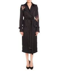 Floral embroidered double breasted trenchcoat black orchid medium 3637899