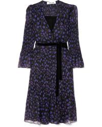 Diane von Furstenberg Ani Printed Med Crinkled Silk Chiffon And Seersucker Wrap Dress
