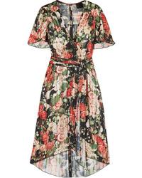 Anna Sui Asymmetric Pleated Floral Print Satin Dress