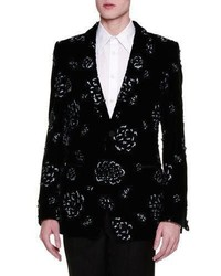 Alexander McQueen Floral Embellished Velvet Evening Jacket Black