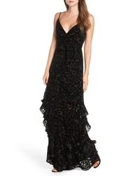 ML Monique Lhuillier Velvet Burnout Tiered Gown