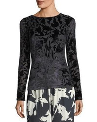 Fuzzi Long Sleeve Floral Velvet Burnout Tee