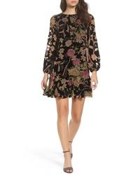 Eliza J Print Velvet Shift Dress