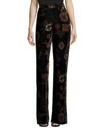 Velvet floral print trouser medium 4398172