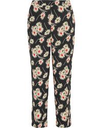 Prada Cropped Floral Print Crepe Wide Leg Pants
